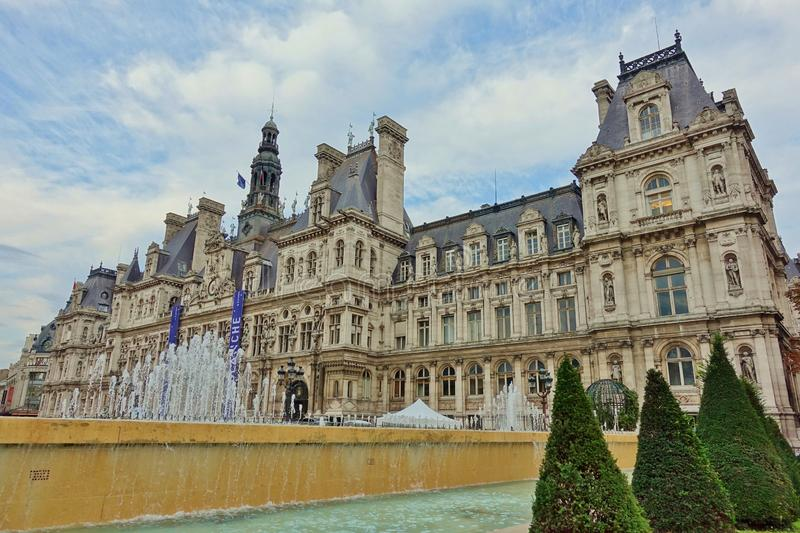 The Hotel de Ville City Hall, in the 4th arrondissement, houses the office of the mayor and local stock photos