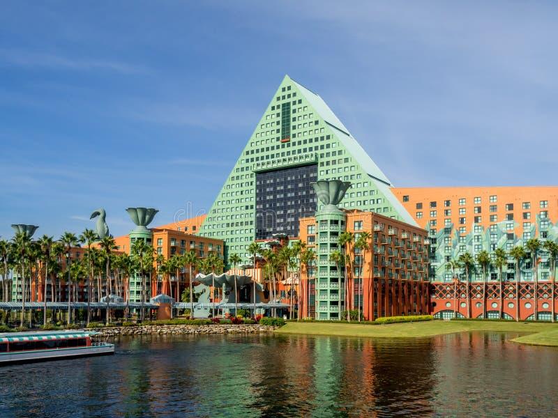 Hotel del cisne y del delfín, mundo de Disney imagen de archivo