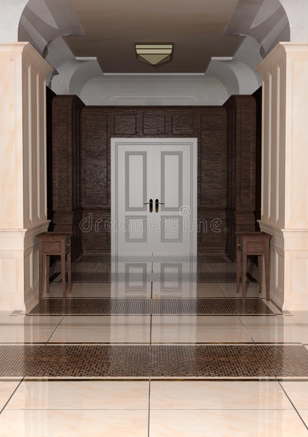 hotel del corridoio della rappresentazione 3D illustrazione vettoriale