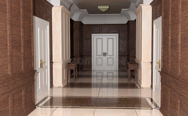 hotel del corridoio della rappresentazione 3D illustrazione di stock