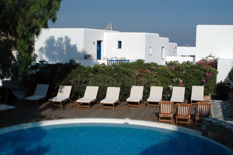 Hotel del Griego de la piscina fotografía de archivo libre de regalías