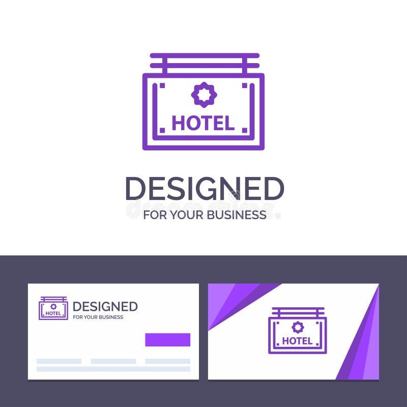 Hotel del modello creativo di logo e del biglietto da visita, segno, bordo, illustrazione di vettore di direzione illustrazione di stock