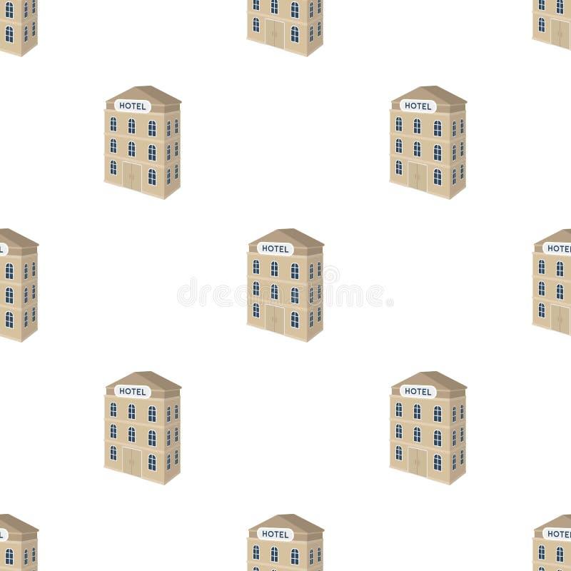hotel del Tres-piso Edificio arquitectónico del solo icono del hotel en el ejemplo de la acción del símbolo del vector del estilo libre illustration