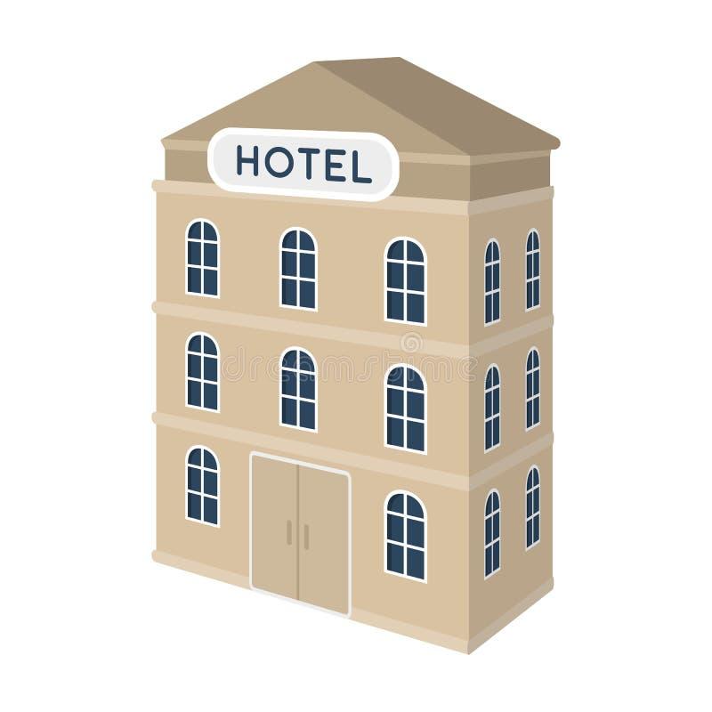 hotel del Tres-piso Edificio arquitectónico del solo icono del hotel en el ejemplo de la acción del símbolo del vector del estilo ilustración del vector