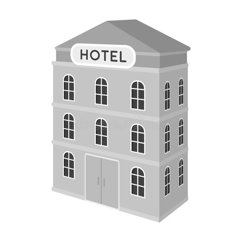 hotel del Tres-piso Edificio arquitectónico del solo icono del hotel en el ejemplo monocromático de la acción del símbolo del vec ilustración del vector