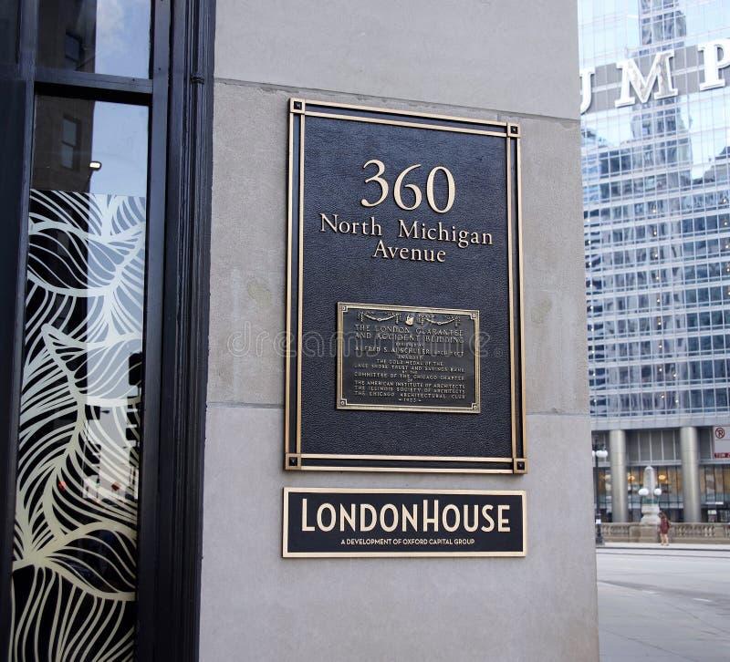 Hotel della Camera di Londra, viale del nord Chicago del centro, Illinois del Michigan fotografie stock