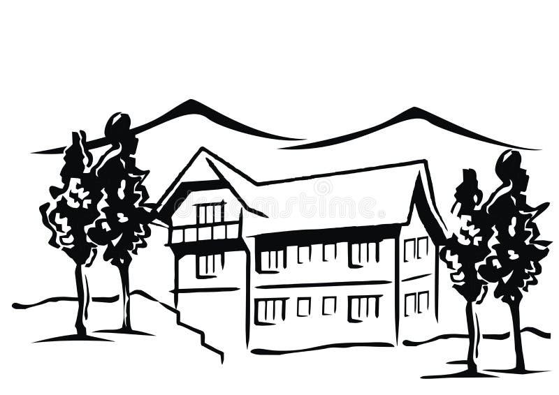 Hotel in den Bergen lizenzfreie abbildung