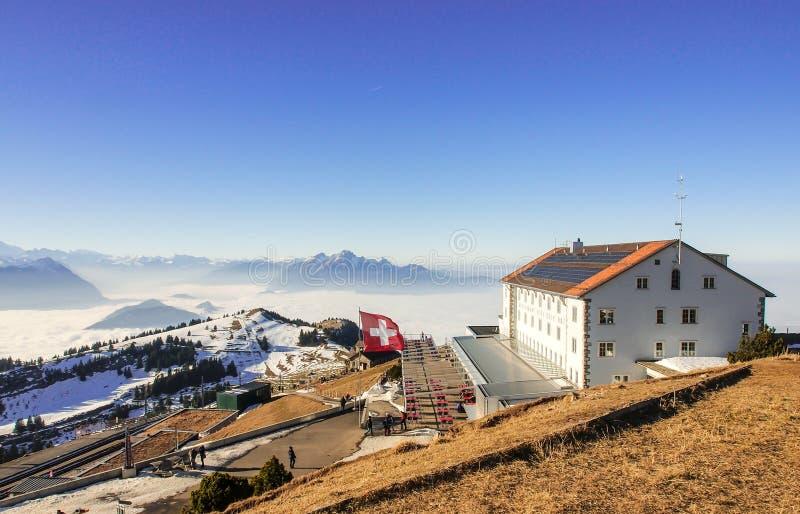 Hotel an der Spitze Rigi Kulm, Luzerne, die Schweiz stockfotos