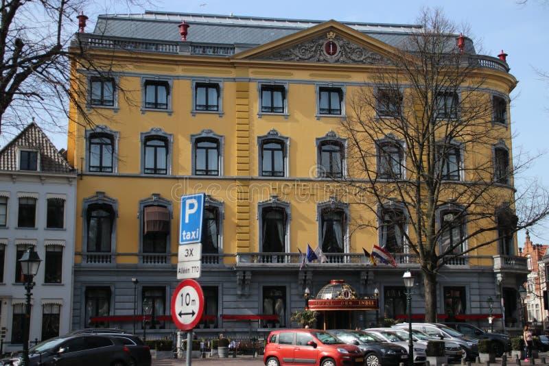 Hotel Des Indes is één van het beroemde hotel in Den Haag The Hague in Nederland waar heel wat celibraties sliepen royalty-vrije stock foto's