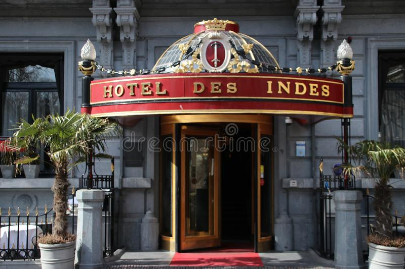 Hotel des Indes on the lange voorhout in The Hague, known for its luxery and famous guests. Hotel des Indes on the lange voorhout in The Hague, known for its stock image