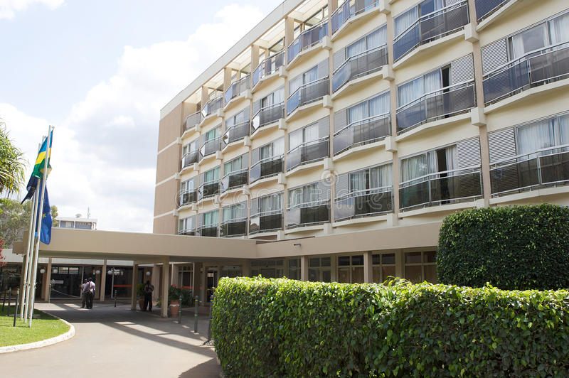 Hotel Des Mille Collines. The Hôtel des Mille Collines is a large hotel in Kigali, the capital city of Rwanda. It became famous as the building in which more royalty free stock photography