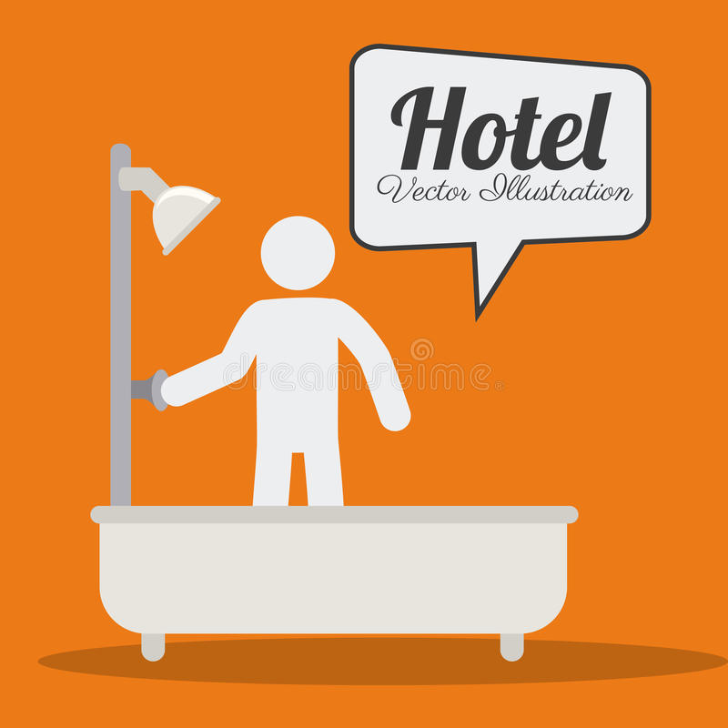 Hotel design, vector illustration. Hotel design over orange background, vector illustration vector illustration