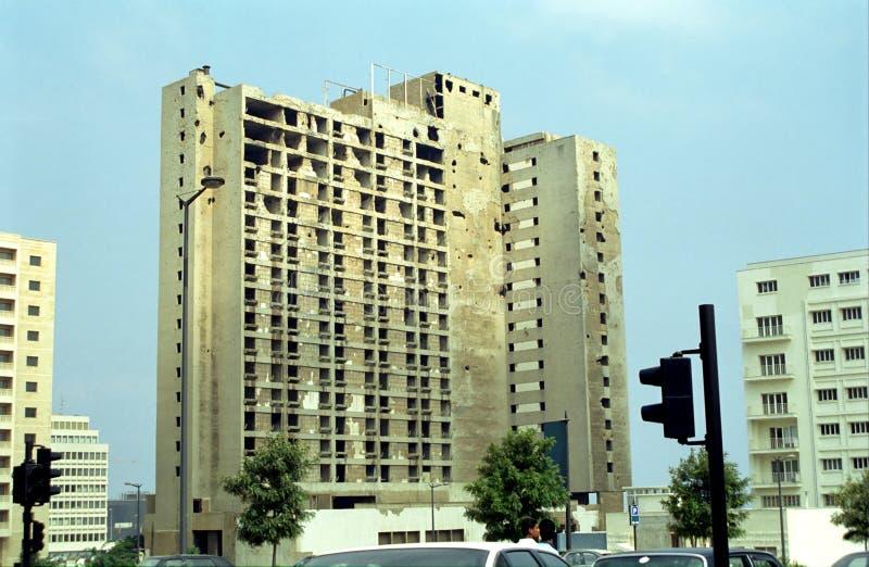 Hotel destruido durante la guerra civil, Beirut, Líbano imagen de archivo libre de regalías