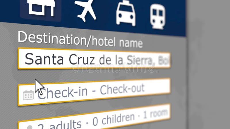 Hotel di prenotazione in Santa Cruz de la Sierra, Bolivia online Il turismo ha collegato la rappresentazione 3D illustrazione di stock