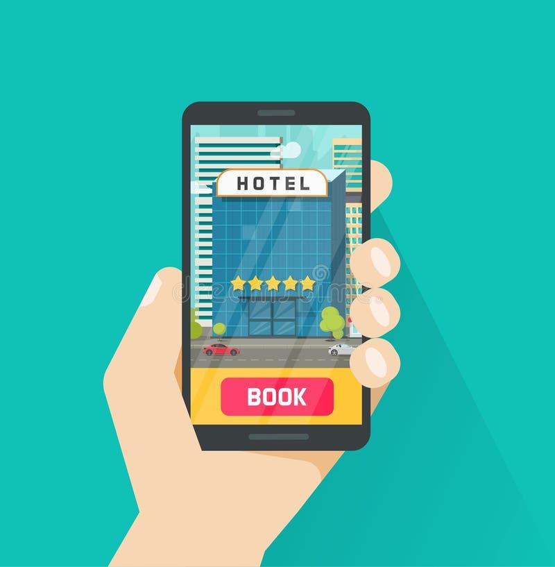 Hotel di prenotazione via l'illustrazione di vettore del telefono cellulare, smartphone piano del fumetto con l'hotel sullo scher illustrazione vettoriale
