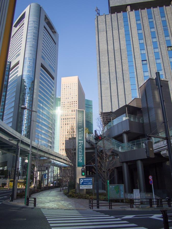 Hotel di Shiodome della fontana della villa a Tokyo, Giappone immagine stock libera da diritti