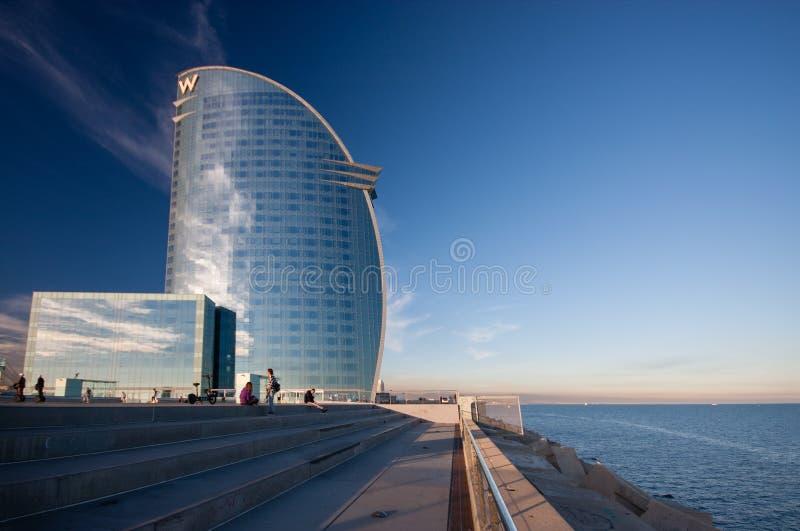 Hotel di W Barcellona, anche conosciuto come i veli dell'hotel immagine stock