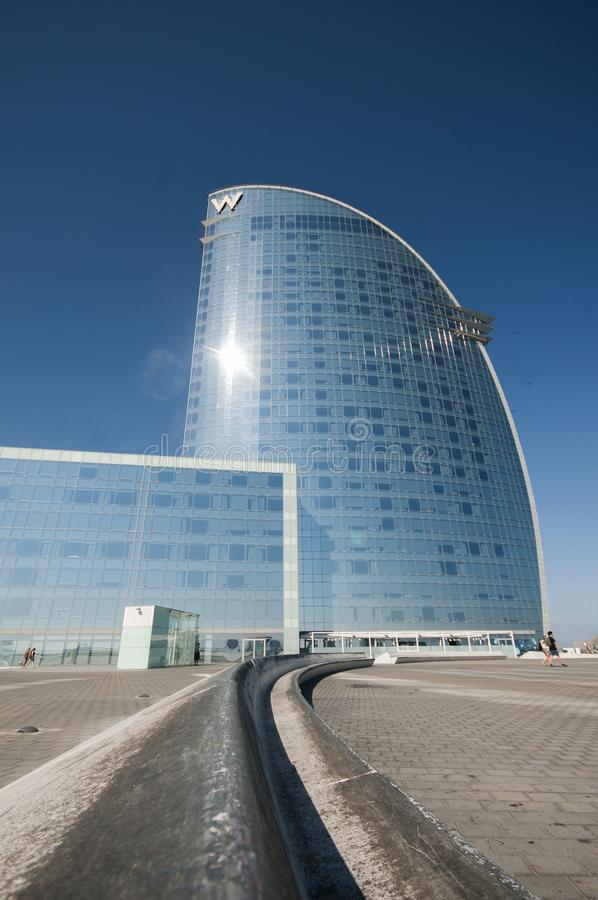 Hotel di W, Barceloneta, Barcellona, Spagna, settembre 2016 immagine stock libera da diritti