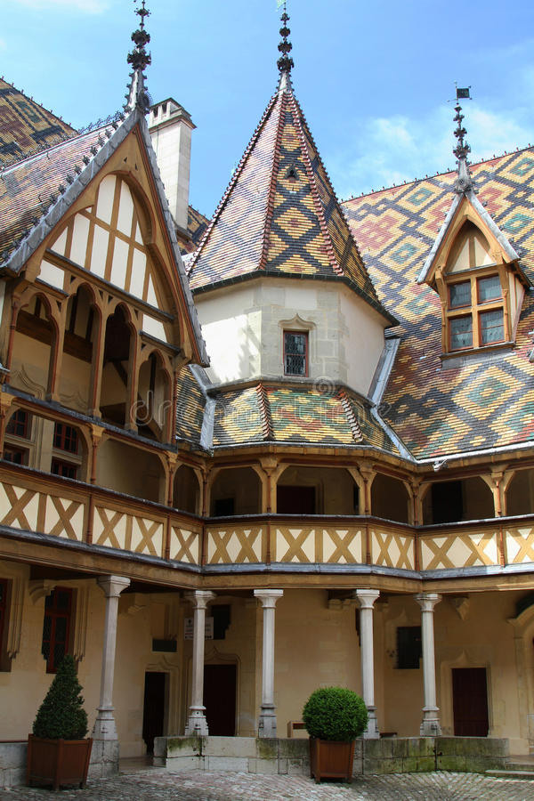 Hotel Dieu, in Beaune. Hotel Dieu, the ancient hospital in the city of Beaune, in Burgundy royalty free stock images