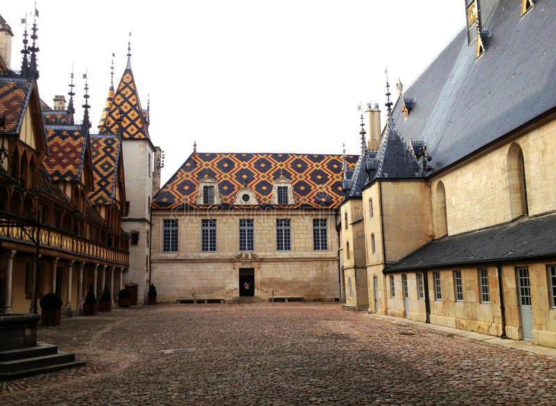 Hotel dieu or Hospices de Beaune. The Hotel dieu or Hospices de Beaune in Burgundy in France royalty free stock photos