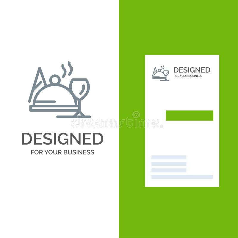 Hotel, Dish, Food, Glass Grey Logo Design and Business Card Template illustration stock
