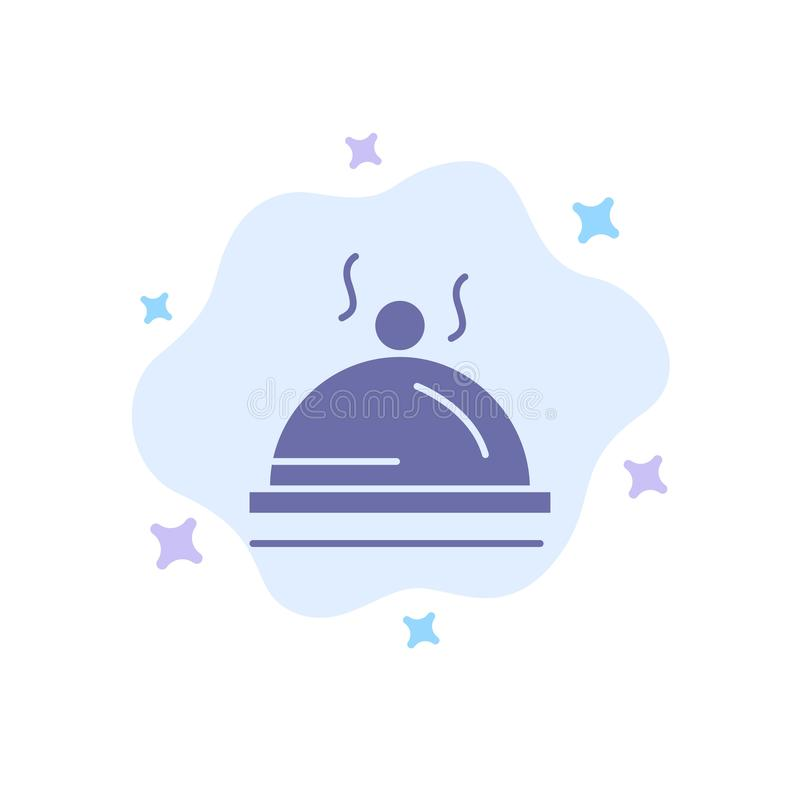 Hotel, Dish, Food, Service Blue Icon on Abstract Cloud Background royalty free illustration