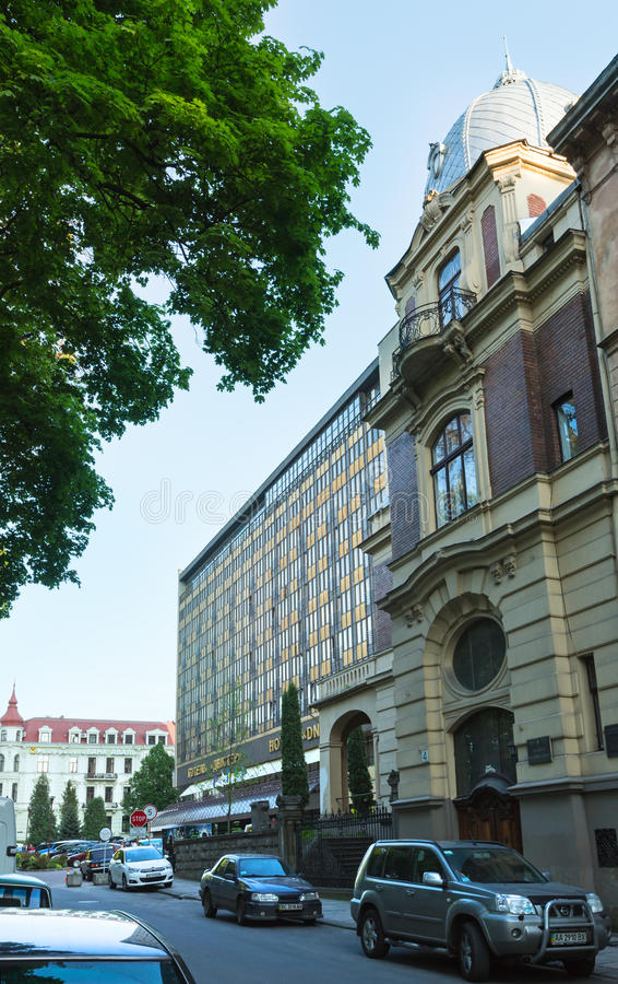 Hotel Dnister in Lviv City, Ukraine stock photos