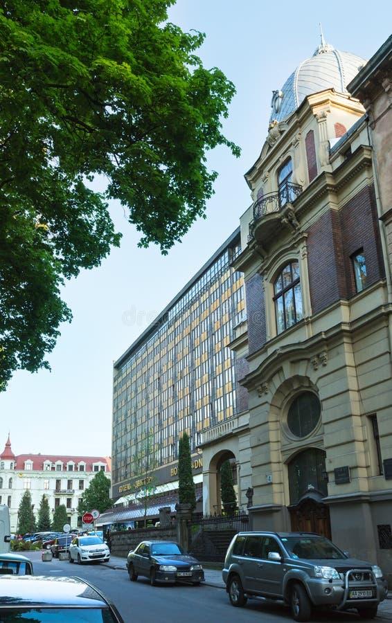 Hotel Dnister nella città di Lviv, Ucraina fotografie stock