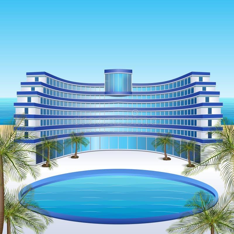 Hotel do ícone: resto, mar, sol, palmeiras ilustração do vetor
