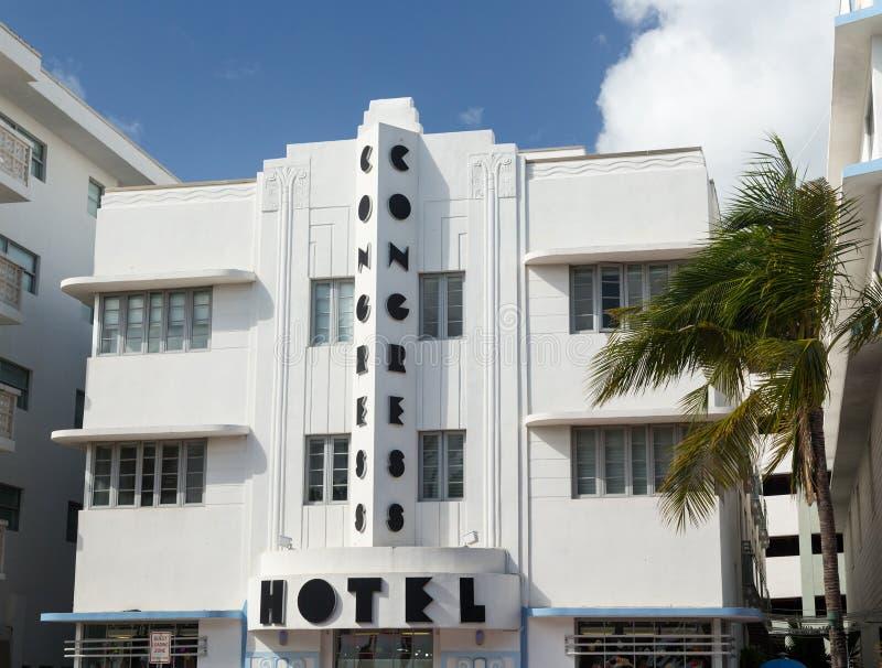 Hotel do congresso no art deco de Miami Beach imagens de stock royalty free