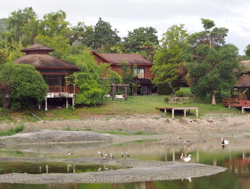 Hotel do estilo do vintage do país do recurso na selva com jardim e o lago pequeno imagens de stock