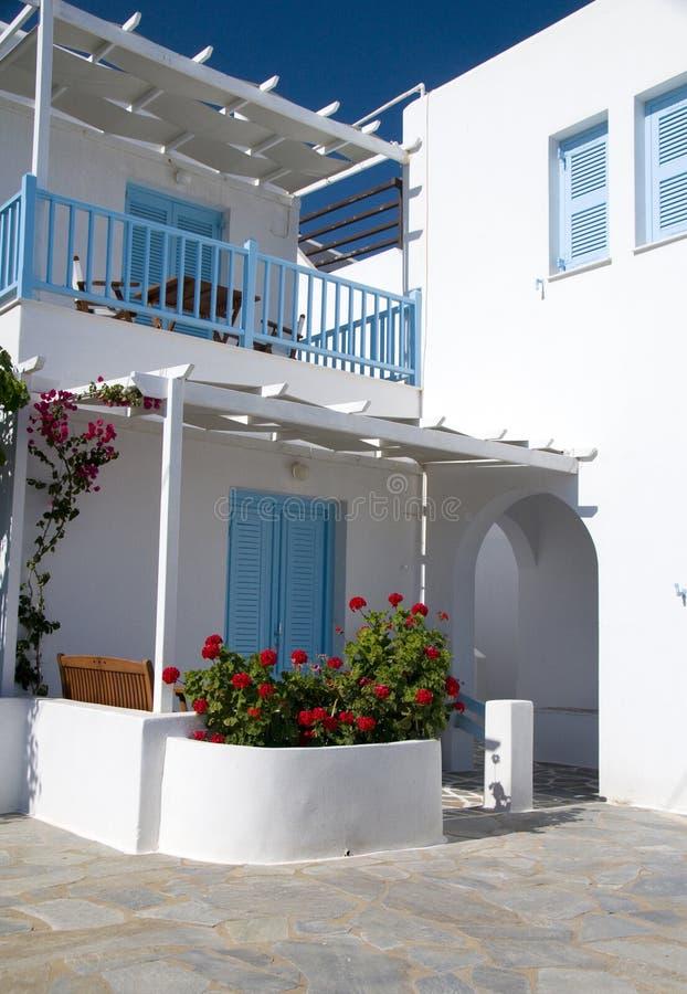 Hotel do motel da arquitetura de Cyclades fotografia de stock royalty free