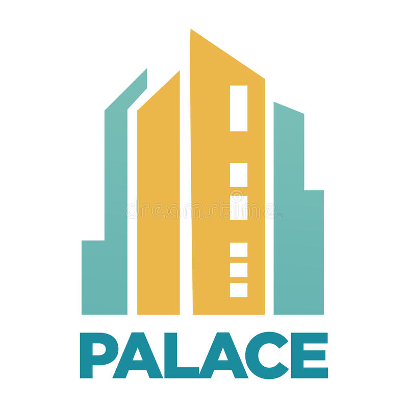 Hotel do palácio que constrói o ícone liso do vetor para a agência imobiliária ou a empresa real ilustração stock