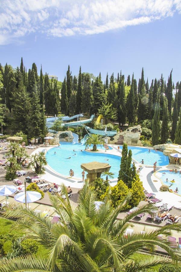 Hotel in Dode Overzees - Jordanië stock foto's