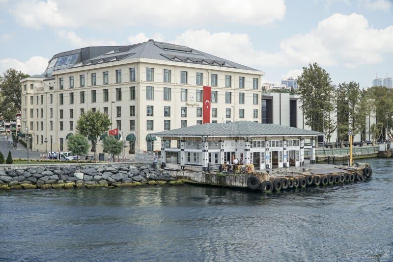 Hotel e cais de Shangri-La no distrito de Besiktas de Istambul Turke imagens de stock royalty free