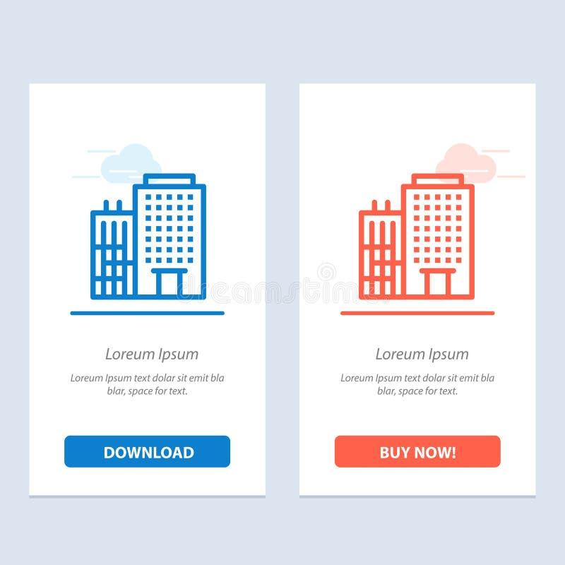 Hotel, edificio, hogar, azul del servicio y transferencia directa roja y ahora comprar la plantilla de la tarjeta del aparato de  stock de ilustración