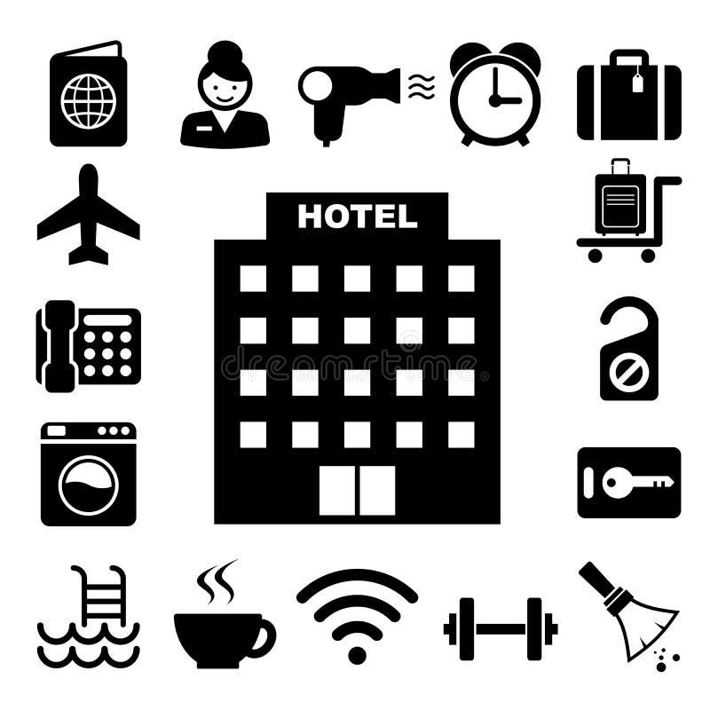 Hotel en de reeks van het reispictogram stock illustratie