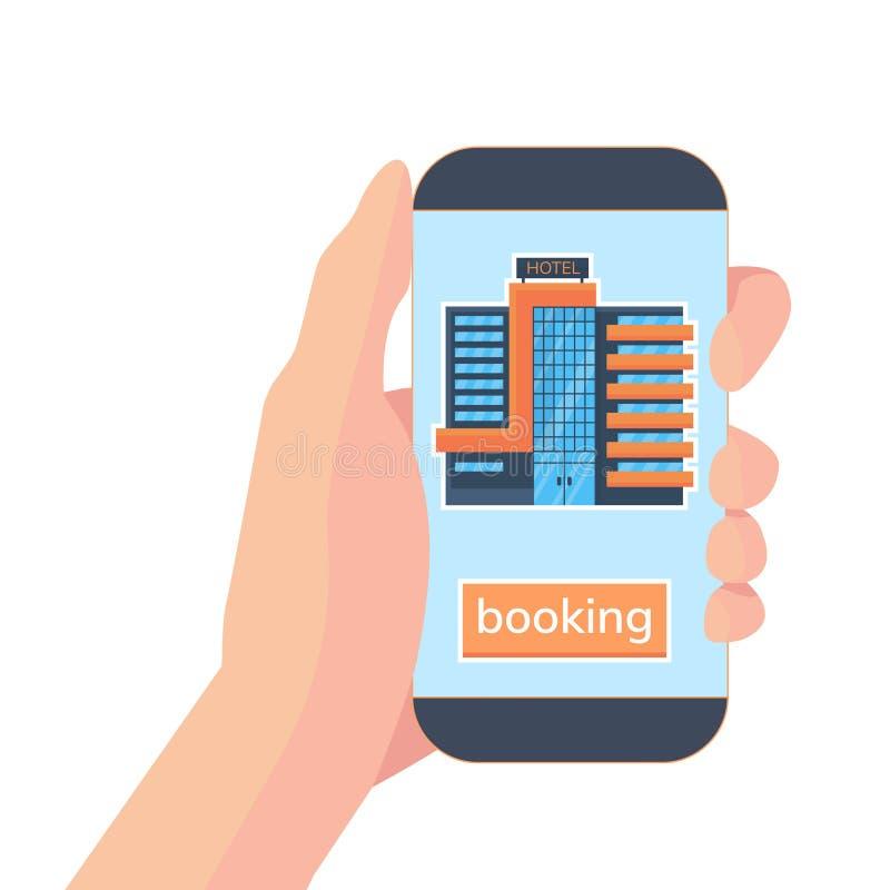 Hotel en línea de la reservación Mano con smartphone y uso para el sitio de la reserva en hotel Ejemplo plano del vector stock de ilustración