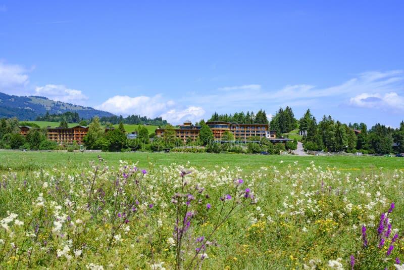 Hotel en Toevlucht Sonnenalp, Allgau, Beieren, Duitsland, met bloeiende weide met wilde bloemen in voorgrond stock fotografie