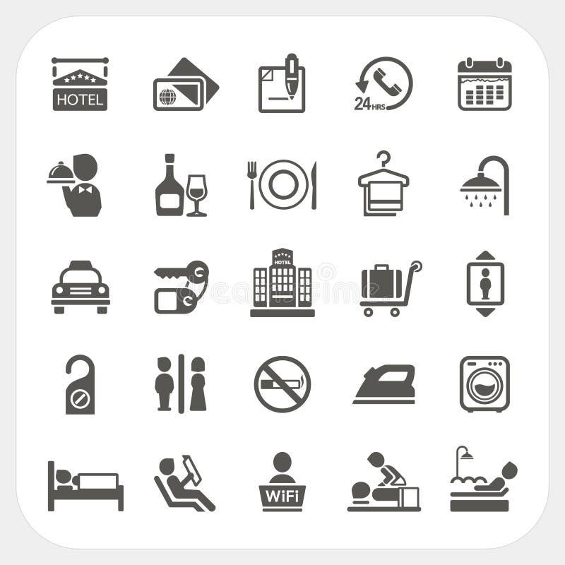 Hotel en van de Hoteldiensten geplaatste pictogrammen royalty-vrije illustratie