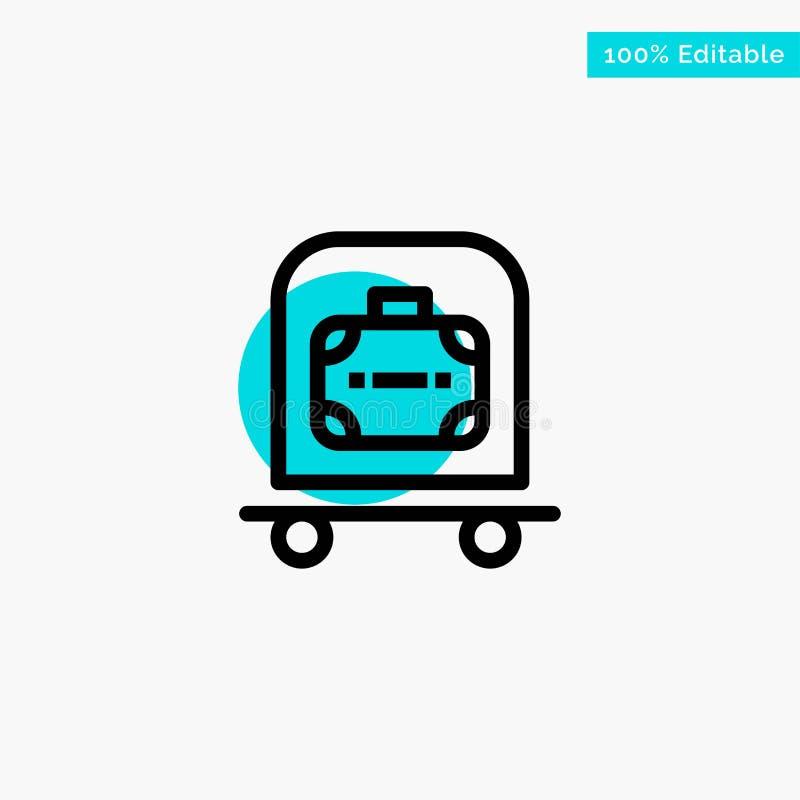 Hotel, equipaje, carretilla, icono del vector del punto del círculo del punto culminante de la turquesa del bolso ilustración del vector