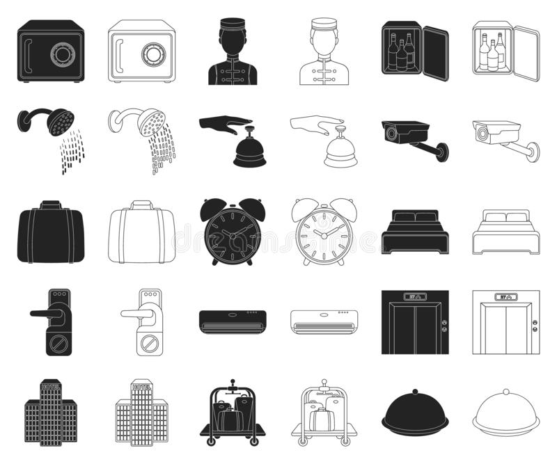 Hotel and equipment black,outline icons in set collection for design. Hotel and comfort vector symbol stock web stock illustration