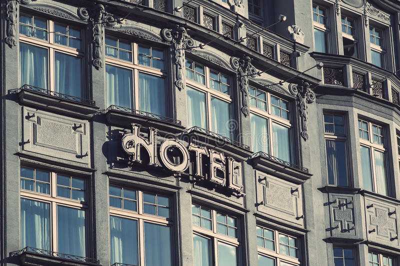 Hotel facade. Old-style hotel in the city of Prague stock photos