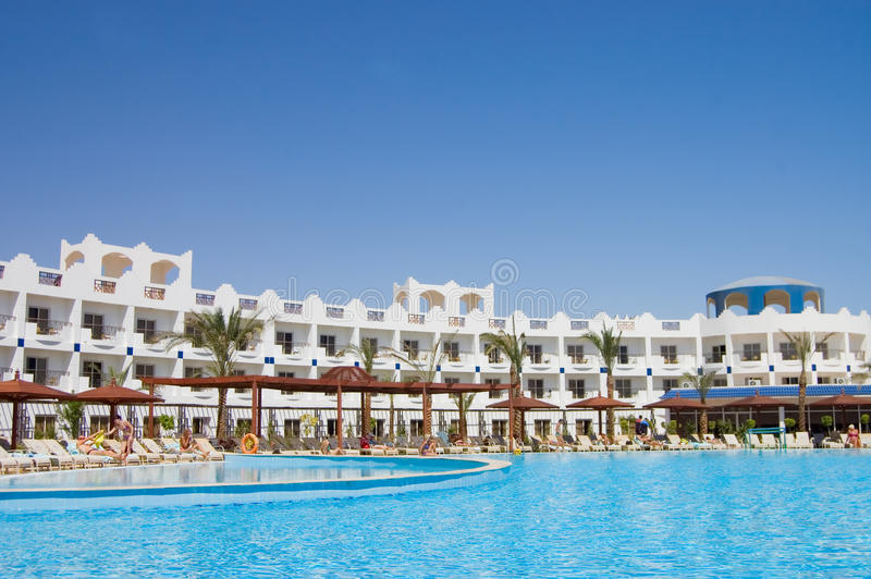 Hotel facade With pool. The hotel facade in Egypt With pool stock photo