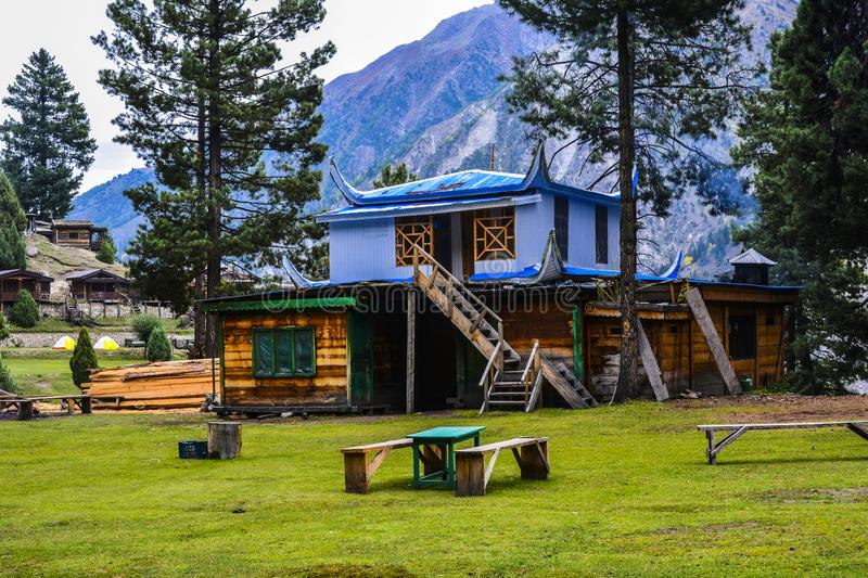A hotel at Fairy Meadows grassland. A beautiful hotel at Fairy Meadows grassland. Fairy Meadows is reachable by a twelve kilometer-long jeepable trek starting stock images