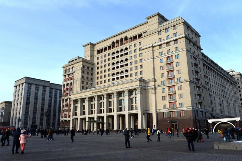 Hotel `Four Seasons Hotel Moscow` on Manezhnaya Square in Moscow. MOSCOW, RUSSIA - FEBRUARY 28, 2016: Hotel `Four Seasons Hotel Moscow` on Manezhnaya Square in stock photo