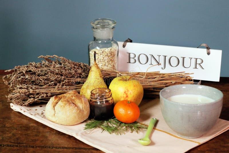 Hotel francese della campagna di buongiorno di parola del bonjour della prima colazione fotografia stock