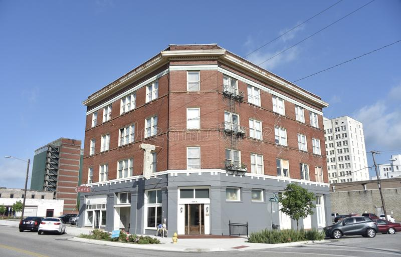 Hotel Front Entrance da união, meridiano, Mississippi foto de stock royalty free