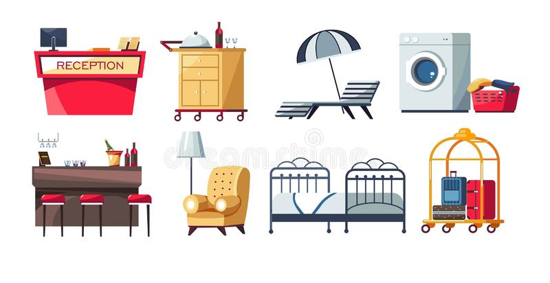 Hotel furniture reception and bar room and laundry pool zone. Reception and bar room and laundry pool zone hotel furniture vector receptionist desk and food stock illustration