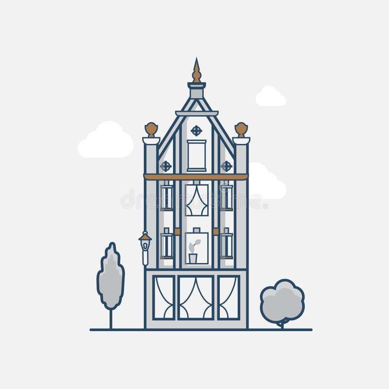 Hotel gótico del edificio de la arquitectura del vintage linear stock de ilustración
